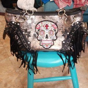 Cowgirl Trendy  handbag w/ sugar skull desing